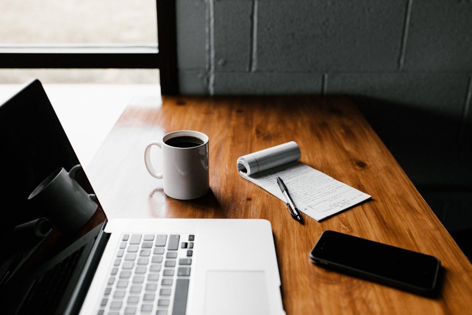 Laptop Coffee Phone on Desk